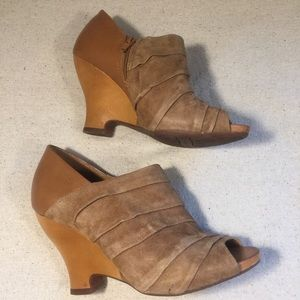 Naya Rouched Leather Wooden Wedge Bootie